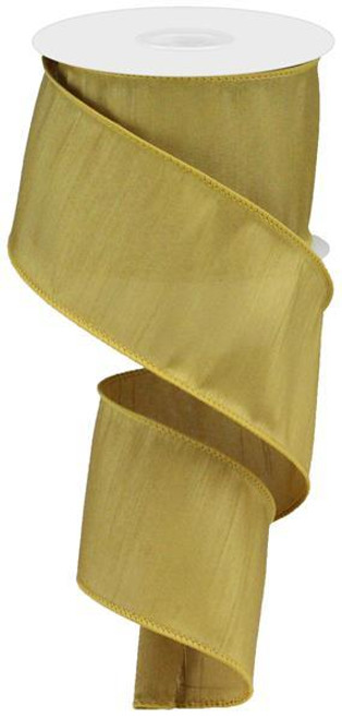 "2.5"" Faux Dupioni Ribbon: Gold - 10 YD"