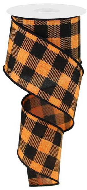 "2.5"" Plaid Check Ribbon: Black/Orange - 10Yds"