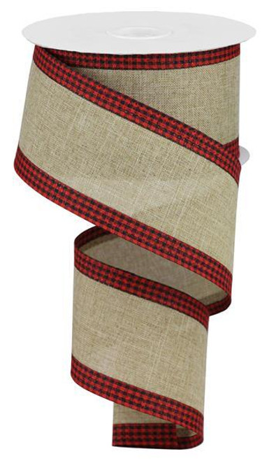"2.5"" Solid Linen Gingham Edge Ribbon: Lt Beige/Red/Blk"