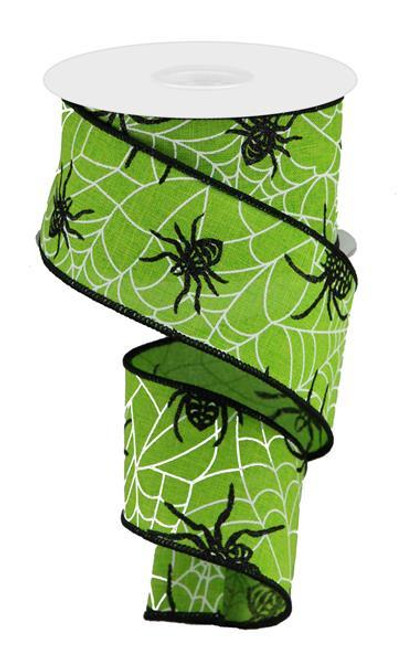"""2.5"""" Spider on Web Ribbon: Lime Green - 10yd"""