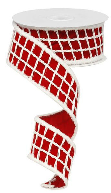 "2.5""  Velvet Check Snowdrift Ribbon - 10yds"