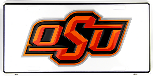 Oklahoma State University Embossed Metal License Plate