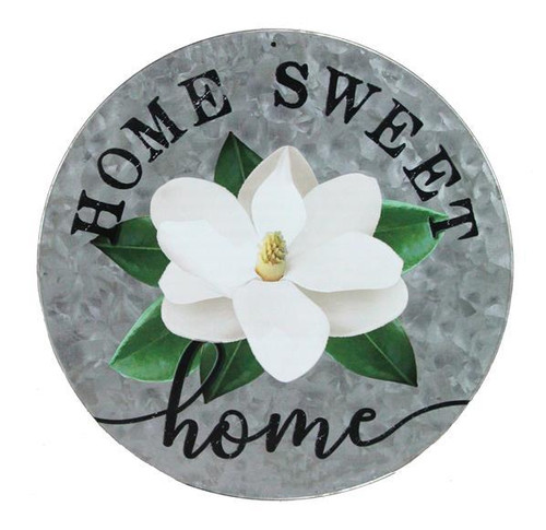 "12"" Metal Home Sweet Home Magnolia Sign"