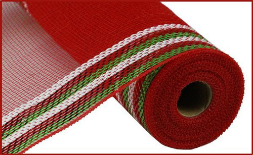 "10.5"" Metallic Border Mesh: Red/Lime Grn/White"