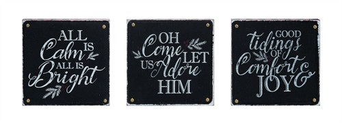 "8"" Black/White Christmas Block Signs"