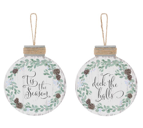 Pinecone Wood Disc Christmas Ornament