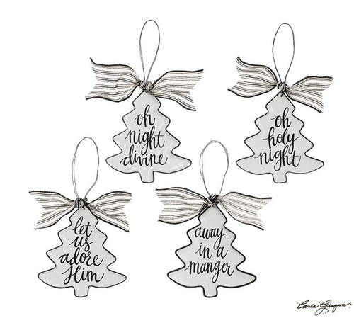 Black/White Christmas Tree Shape Ornament