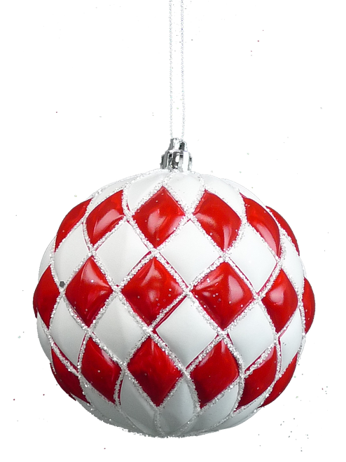 "4"" Diamond Pattern Ball Ornament: Red/White"