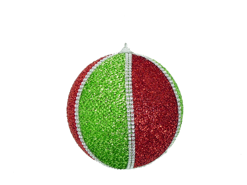 "4.5"" Wide Stripe Tinsel Ball Ornament: Red/Grn"