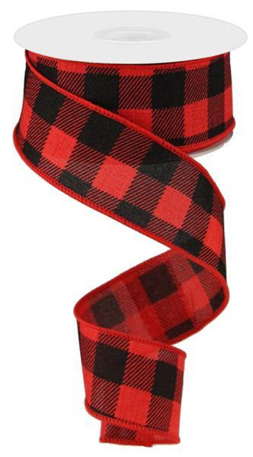 "1.5"" Plaid Check Ribbon: Red/Black - 10Yds"
