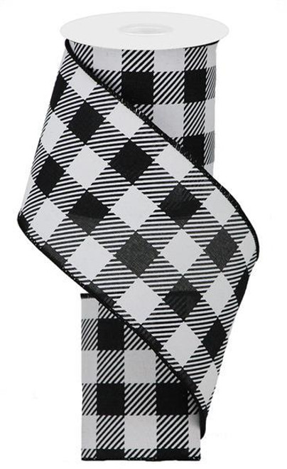 "4"" Plaid Check Ribbon: Black/White - 10Yds"