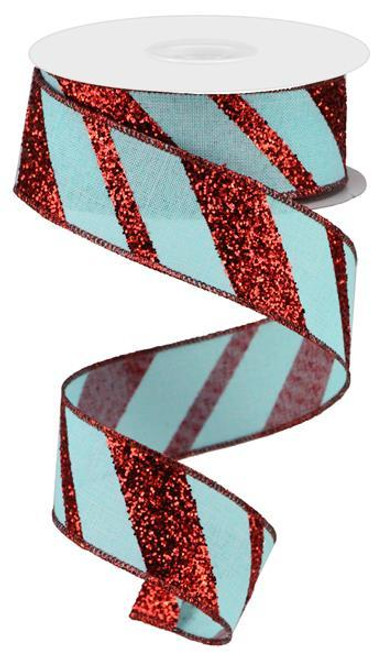 "1.5"" Diagonal Glitter Stripe Ribbon: Ice Blue/Red - 10yd"