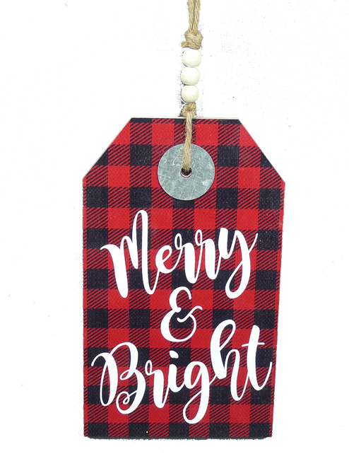 "12"" Merry & Bright Buffalo Check Sign: Red/Black"