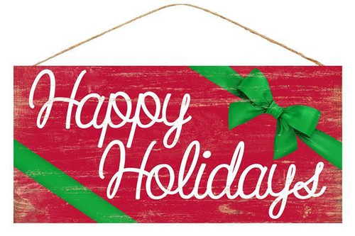 """12.5"""" Red Happy Holidays Sign"""
