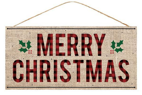 "12.5"" Merry Christmas Burlap Sign"