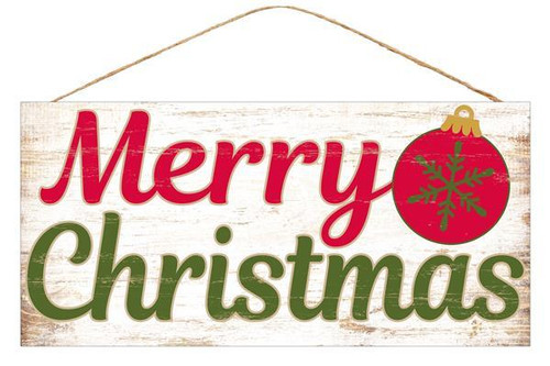 "12.5"" Merry Christmas Sign w/ Ornament"
