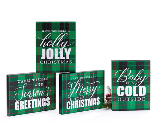 Green and Black Plaid Christmas Block Signs
