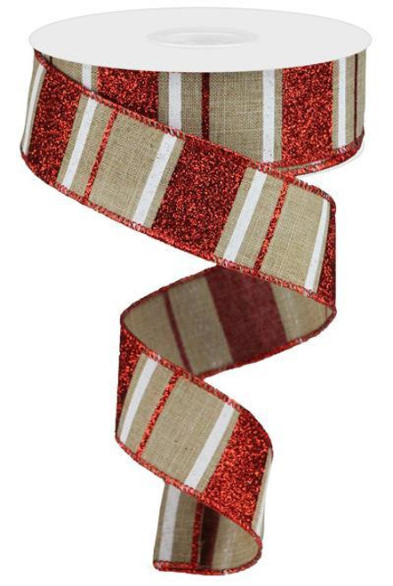 "1.5"" Horizontal Glitter Stripe Ribbon: Beige/Red/Wht - 10yd"