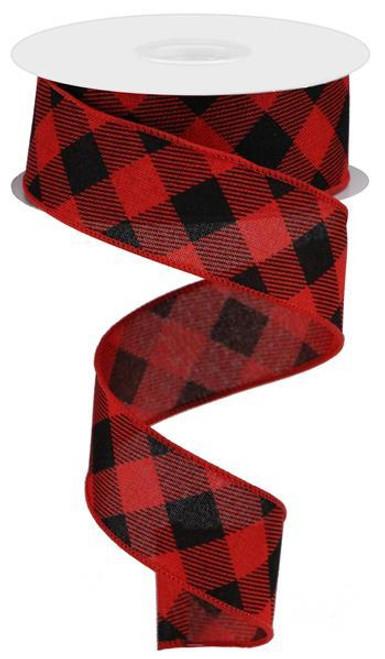 "1.5"" Diagonal Check Ribbon: Red/Black - 10Yds"