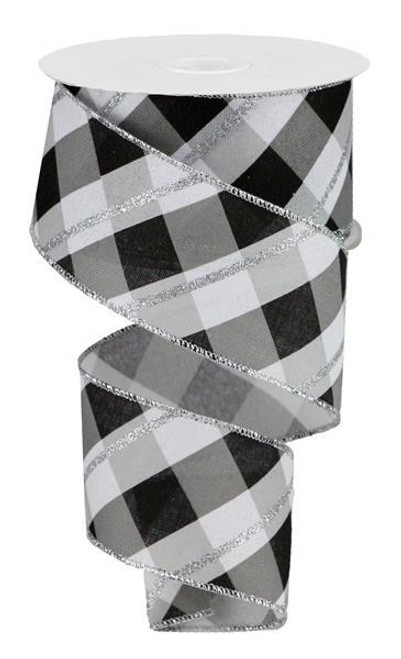 "2.5"" Metallic Diagonal Check Ribbon: White/Black/Silver - 10yds"