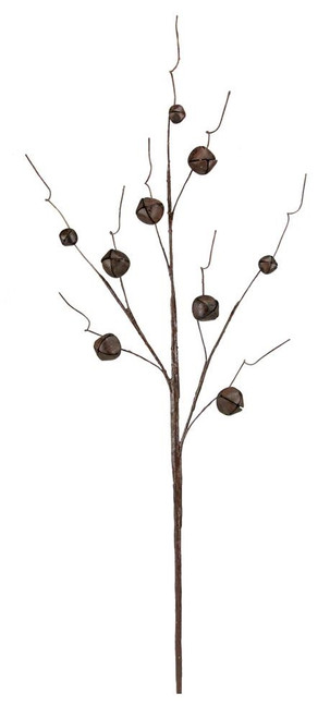 "30"" Jingle Bell Curly Twig Spray: Rust"