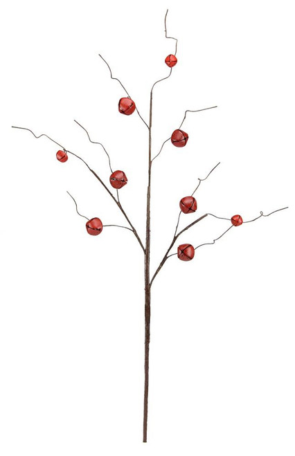 "30"" Jingle Bell Curly Twig Spray: Red"