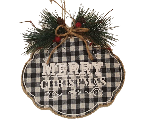 Black/White Check Plaid Merry Christmas Sign