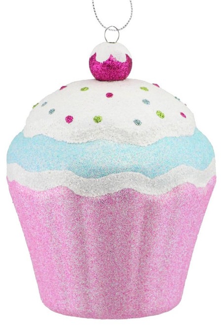 "5.5"" Pink/Blue Cupcake Ornament"