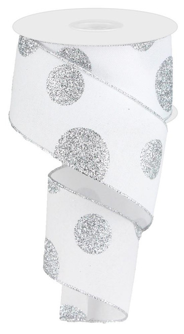 "2.5"" x 10yd Linen Giant Dot Ribbon: White/Glitter Silver"