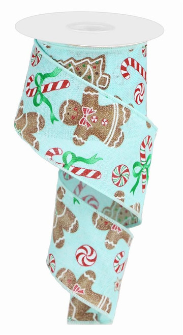 "2.5"" Linen Gingerbread/Candy Ribbon: Ice Blue - 10 Yds"