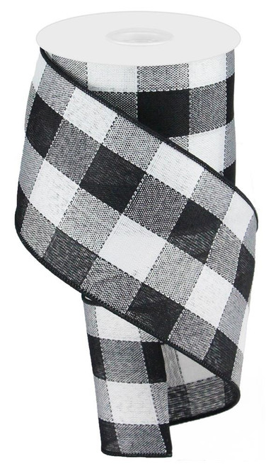 "4"" Large Woven Check Ribbon: Black/White - 10Yds"