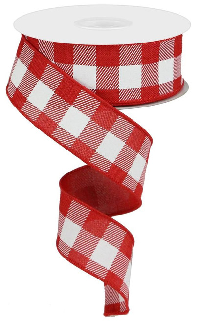 "1.5"" Plaid Check Ribbon: Red/White - 10Yds"