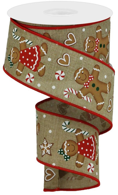 "2.5"" Gingerbread Ribbon: Beige - 10Yds"