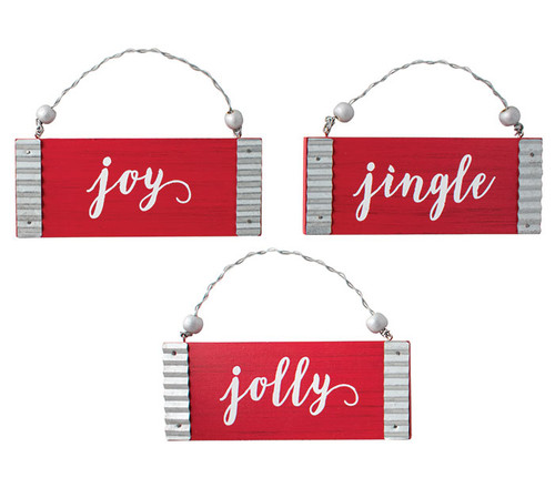 Jingle, Jolly, or Joy Red Ornament