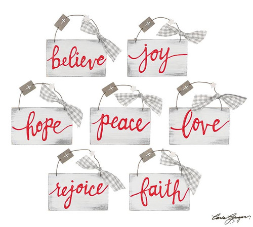 Hand Painted Words of Faith Ornament
