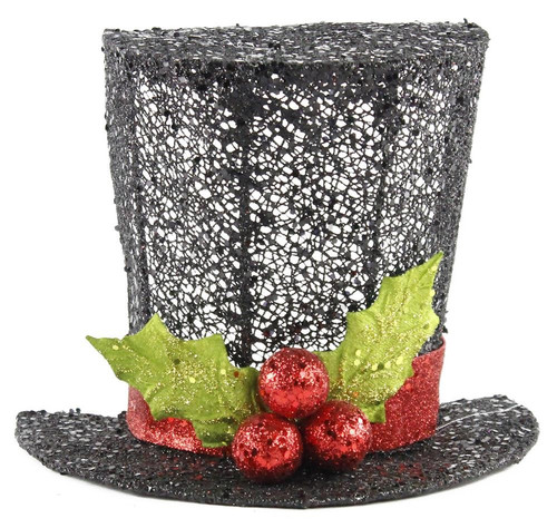 "9"" Glittered Mesh Top Hat Flat Back"