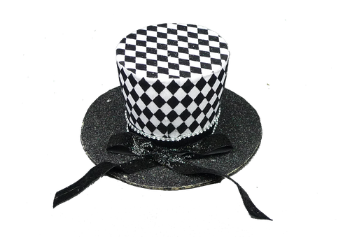 "7"" Harlequin Top Hat: Black/Wht"