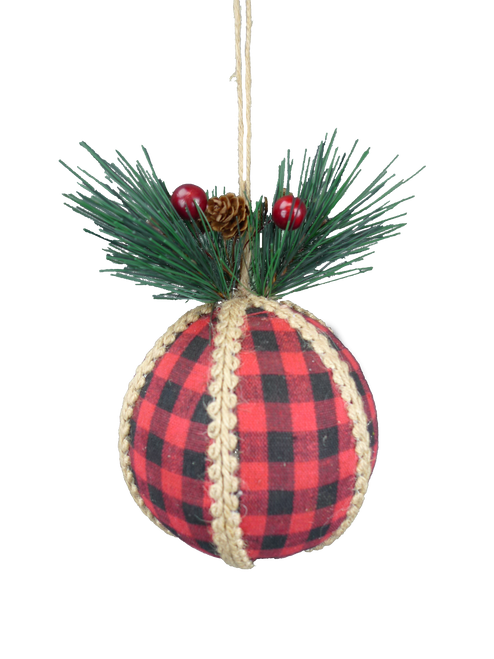 "5"" Buffalo Check Ball Ornament: Red/Blk"