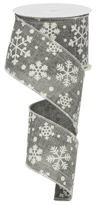 "2.5"" Falling Snowflake Ribbon: Grey - 10 yards"