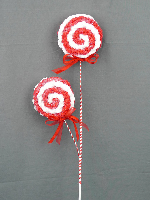 "26"" Chenille Lollipop Spray: Red/Wht"