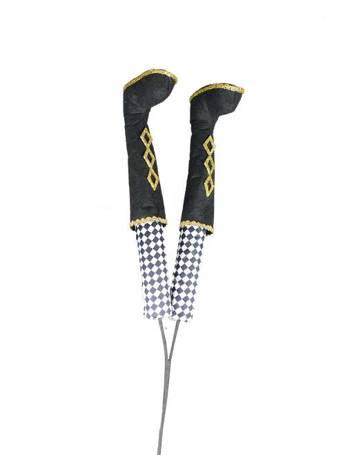 "30"" Nutcracker Legs Spray: Blk/Wht"