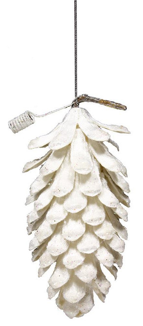 "6"" Velvet Glitter Pinecone Ornament"