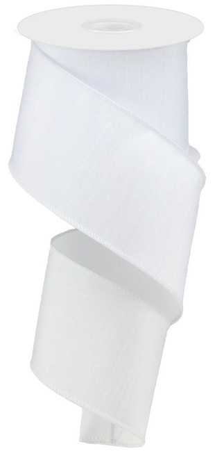 "2.5"" Faux Dupioni Ribbon: White - 10Yd"