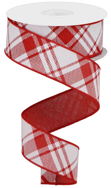 "1.5"" Diagonal Plaid Ribbon: Red/White - 10Yds"