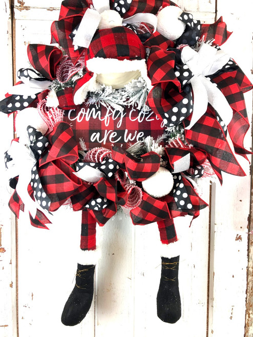 Comfy Lumberjack Buffalo Check Wreath - Free Shipping