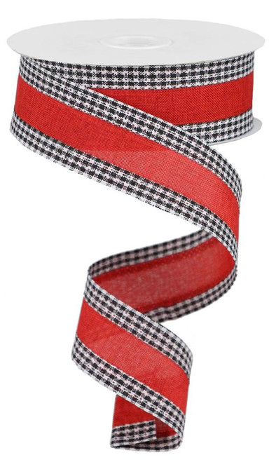"""1.5"""" Solid Linen Gingham Edge Ribbon: Red/Blk/Wht"""