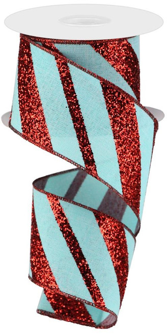 "2.5"" Diagonal Glitter Stripe Ribbon: Ice Blue/Red - 10yd"