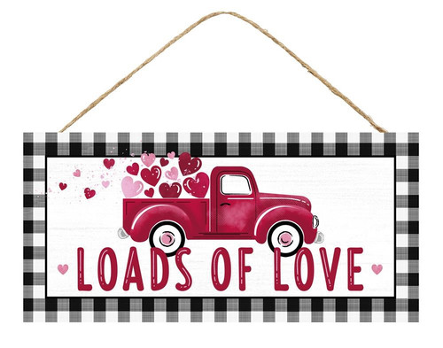 "12.5"" Loads of Love Red Truck Sign"