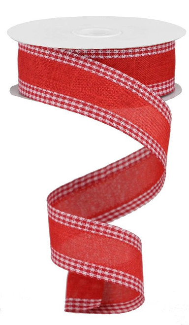 """1.5"""" Solid Linen Gingham Edge Ribbon: Red/Wht"""