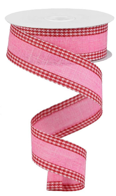 "1.5"" Solid Linen Gingham Edge Ribbon: Pink/Red/Wht"